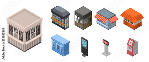 Street shop kiosk icon set  Isometric set of street shop