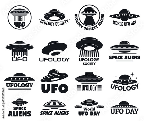 UFO flying logo set Canvas Print