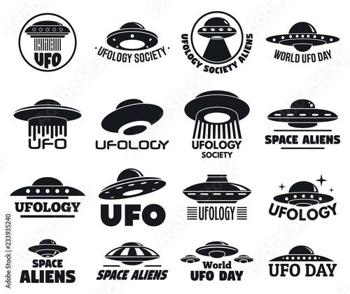 Fotomural UFO flying logo set