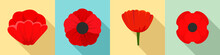Poppy Flowers Icon Set. Flat S...