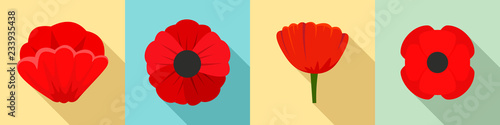 Poppy flowers icon set. Flat set of poppy flowers vector icons for web design - 233935438