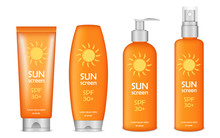 Sunscreen Icon Set. Realistic ...