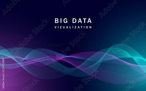 Obraz Visualization big data banner. Realistic illustration of visualization big data vector banner for web design - fototapety do salonu