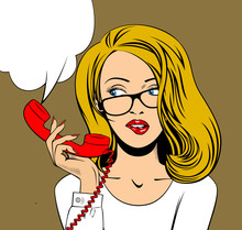 Blonde Woman In Glasses With A Red Retro Phonein In Her Hand
