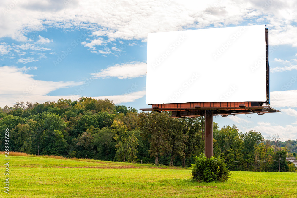 Fototapety, obrazy: Giant Blank Billboard in Autumn Setting With Copy Space