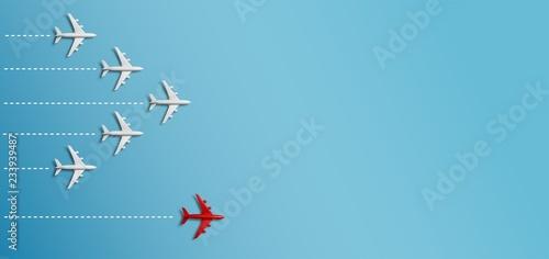 Fototapeta  Grupo de aviones en una dirección y un avión rojo apuntando de manera diferente sobre fondo azul