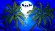 Santa Claus Flying On The Background Of Palm Trees And The Moon