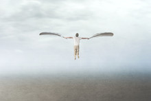 Man With Wings Flying In The Sky