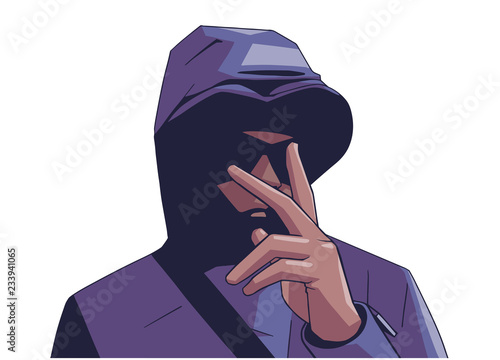 Fotografie, Obraz  Illustration of young hooded gang member with victory hand sign