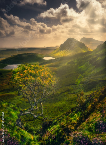 Scenic landscape view of Quiraing mountains in Isle of Skye, Scotland, UK