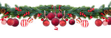 Christmas Garland With Red Hanging Balls, Cones And Berries On Isolated White Background