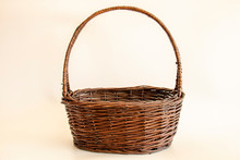 Empty Wicker Basket On Soft Li...