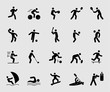 Silhouette icons set for Sports action 1