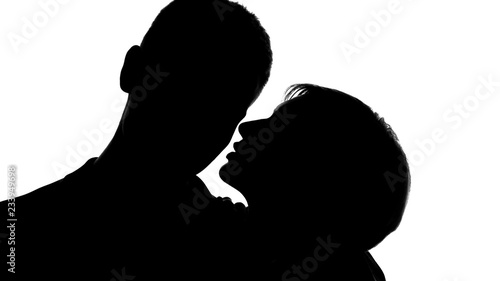 Photo  Young lady whispering love words into males ear, tender behavior, flirting