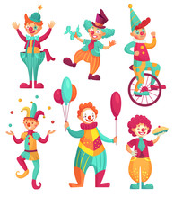 Circus Clowns. Cartoon Clown C...