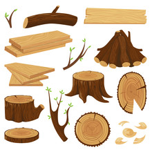 Timber Wood Trunk. Stacked Firewood, Logging Tree Trunks And Pile Of Wood Log Isolated Vector Set