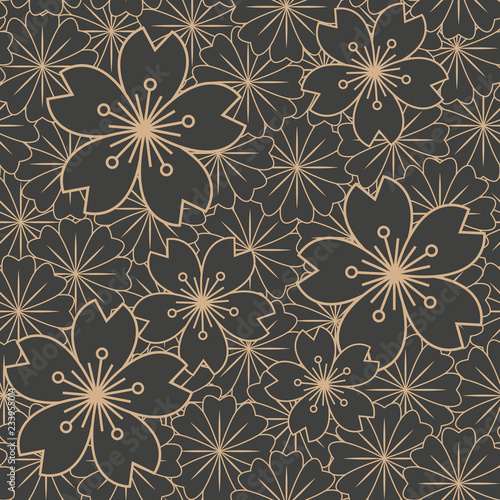 Tapety Klasyczne  wektor-adamaszku-bezszwowe-tlo-wzor-retro-sakura-kwiat-wisni-kwiat-kalejdoskop