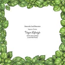 Watercolor Square Vegan Frame By Freshness Basil Leaves