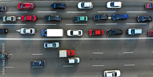 Fotografie, Obraz  City traffic jam on a highway. Aerial.