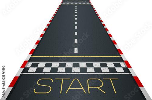 Montage in der Fensternische F1 Racing asphalt road. Start and finish concept. Vector illustration