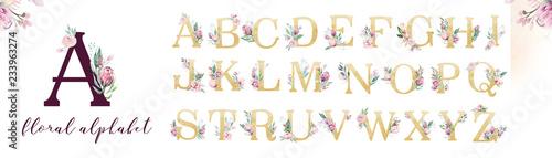 Fotografie, Tablou Gold glitter letter alphabet