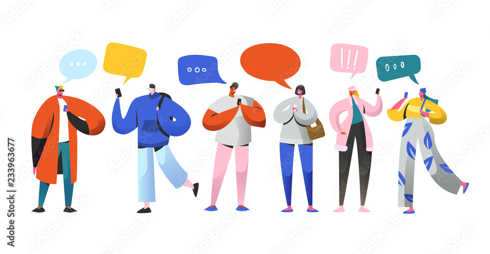 Fototapety, obrazy: Social Networking Virtual Relationships Concept. Flat People Characters Chatting via Internet Using Smartphone. Group of Man and Woman with Mobile Phones. Vector illustration