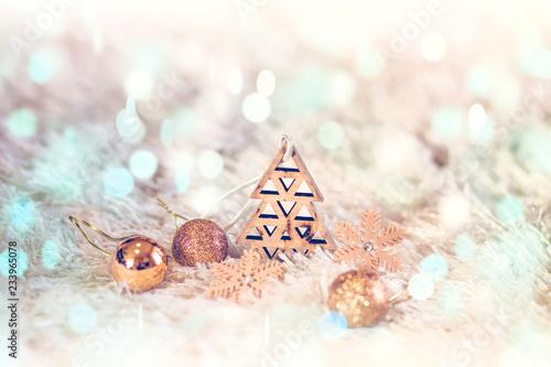 Foto op Plexiglas Stenen in het Zand Winter background with Christmas decorations