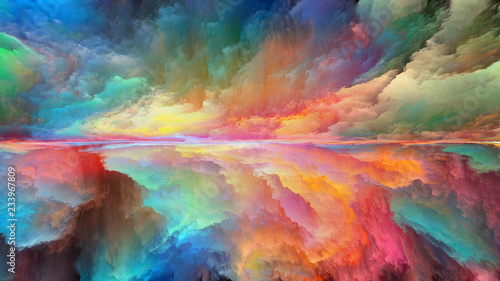 Fotobehang Pistache Colorful Abstract Landscape