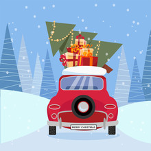 Flat Vector Cartoon Illustration Of Retro Car With Presents, Christmas Tree On Roof. Little Red Car Carrying Gift Boxes. Vehicle Back, Car Rear View Decorated With Wheel. Winter Snowy Forest Around