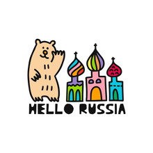 Travel Card Concept With Cathedral, Bear And Text 'hello To Russia' Doodle Style