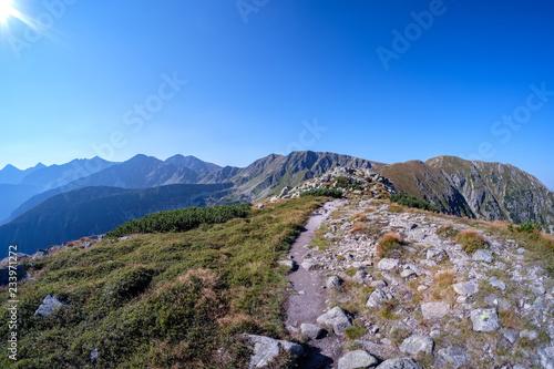 western carpathian mountain panorama in clear day