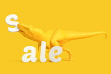 Sale Concept. T-Rex With Letters. Contains Clipping Path