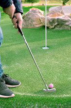 Golf Ball And Golf Club On Art...