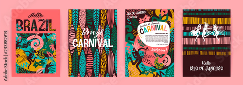 Brazil carnival. Vector templates with trendy abstract elements. Fotobehang