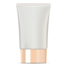 Wide Cosmetic Cream Tube With Glossy Golden Lid. High Quality Mockup Package. Cosmetic Jar For Cream, Ointment, Toothpaste, Base, Foundation. Vector Illustration.