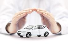 Car Insurance. Small White Car...