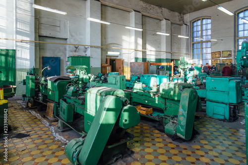 Industrial turning and drilling machine tools in old