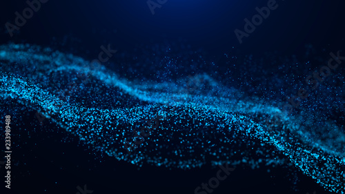Keuken foto achterwand Fractal waves Wave of particles. Abstract particle. Data visualization. Abstract digital background. 4k rendering.