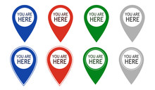 You Are Here Icons. Info Speech