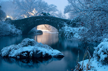 Gapstow bridge during winter, Central Park New York City. USA