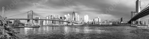 Tuinposter New York City Panoramic view of Manhattan and Brooklyn Bridge in New York. USA