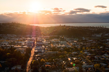 2018, September 29 - Nelson, New Zealand, View Of Nelson Town At Sunset.