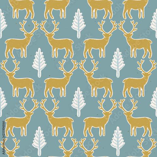 Fotografija  Winter Rustic Tree and Reindeer Lino Cut Texture Seamless Vector Pattern, Pine,