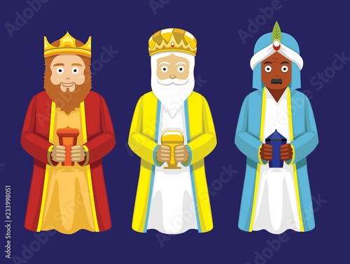 Fotomural Three Wise Men Cartoon Characters Illustration