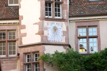 Riquewihr,France-October 13, 2018: A Sundial Or Sun Clock On A Wall In Riquewihr, Alsace, France