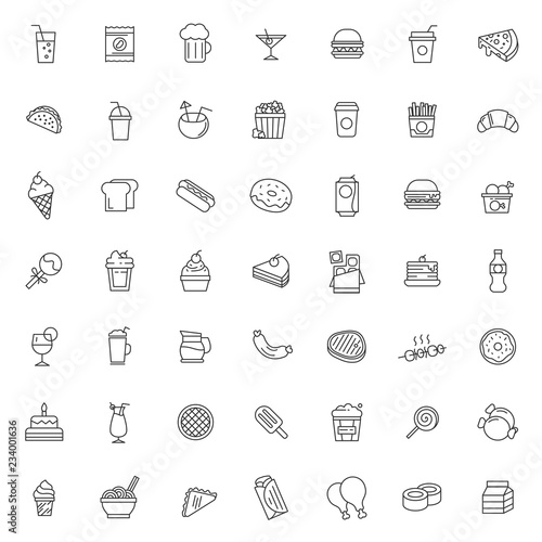 Fotomural  big set of fast food icons vector design with simple outline and modern style, e