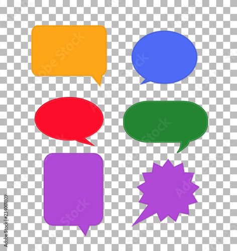 speech bubbles icon on transparent  colorful set dialog