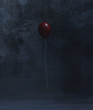 Red Balloon In A Dark Room,3d ...