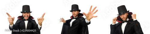 Photo Man magician isolated on white