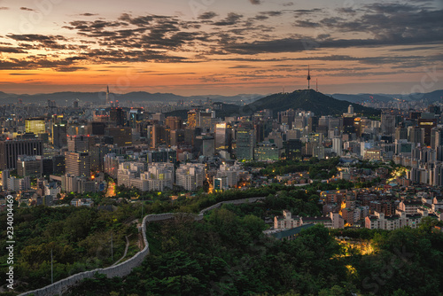 View of downtown seoulcityscape and Seoul tower in Seoul, South Korea.